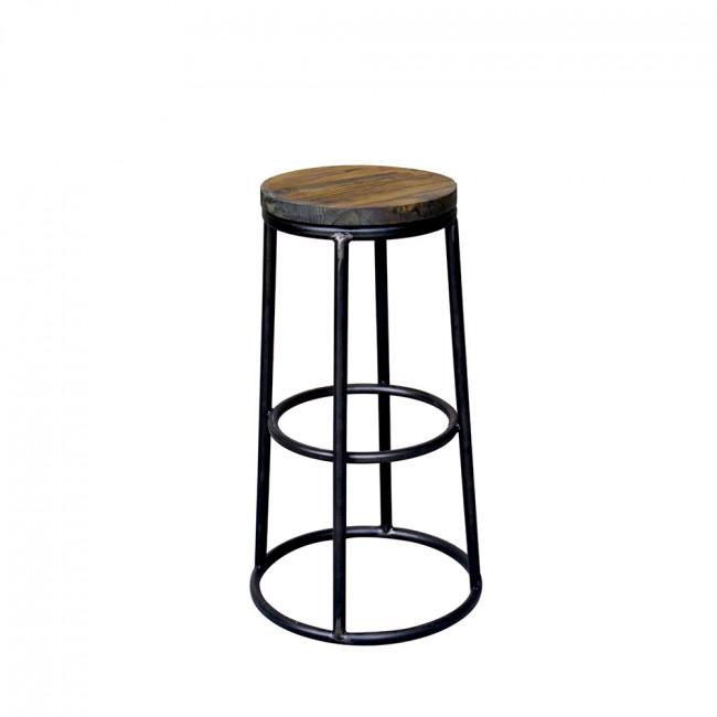 Tabouret de bar indus bois métal noir Fredo