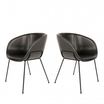 Lot de 2 chaises design Feston Zuiver Maron Noir