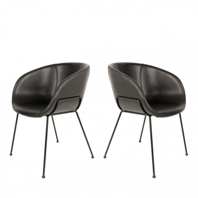 Lot de 2 chaises design Feston Zuiver Maron Noir