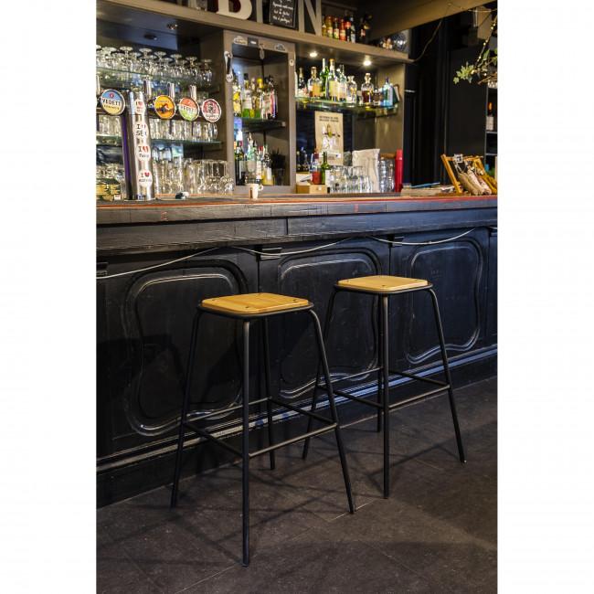 Arlet  - 2 tabourets de bar métal et bois 76cm