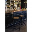 Chilly - 2 chaises de bar métal et bois 75cm