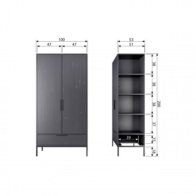 Adam - Armoire 2 portes 1 tiroirs en bois