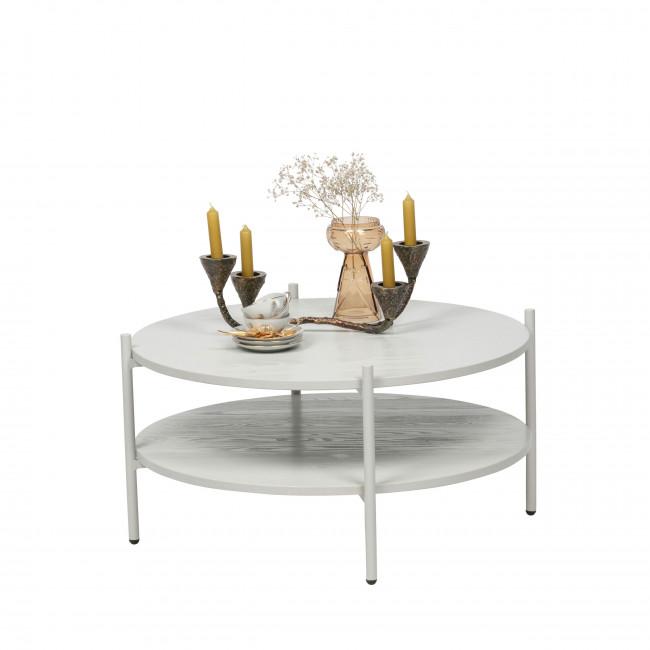 Tender - Table basse ronde en bois et métal