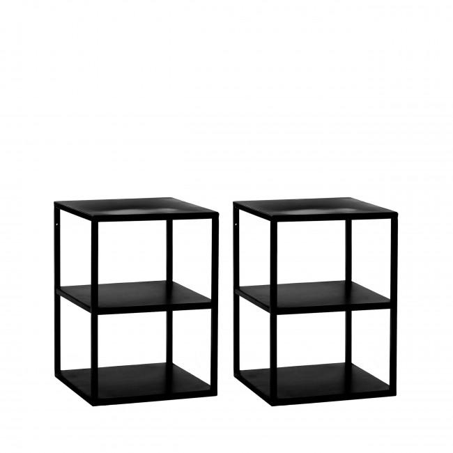 Eszential - 2 tables basses en métal 30x30cm