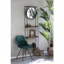 Shelton - Étagère murale avec miroir en métal et bois