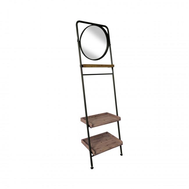 Shelton - Étagère avec miroir en métal et bois