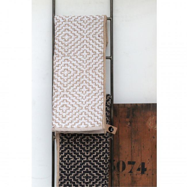 Kuala - Tapis en jute à motifs blancs