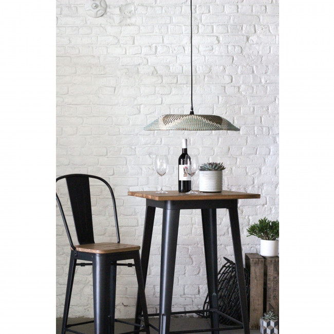 Tucker - Table de bar en métal et bois 60x60cm