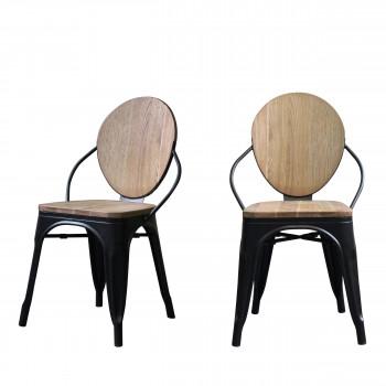 Farell - 2 chaises en bois et métal