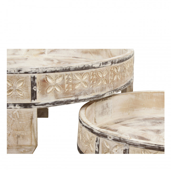 Heeg - 2 tables basses rondes en bois