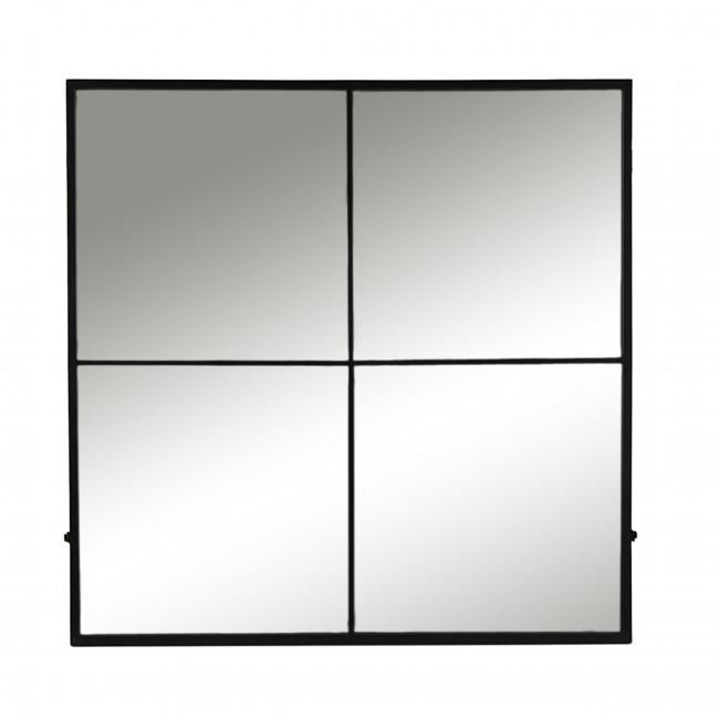 Palace - Miroir verrière en métal 80x80cm - Couleur noir
