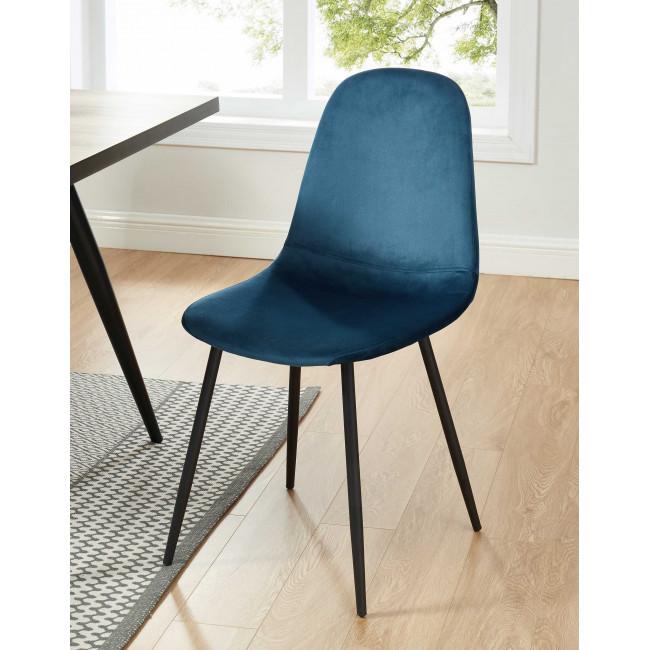Heki - 4 chaises en velours - Bleu canard