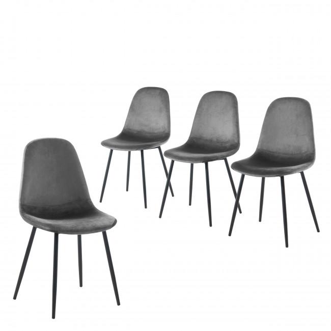 Heki - 4 chaises en velours - Gris