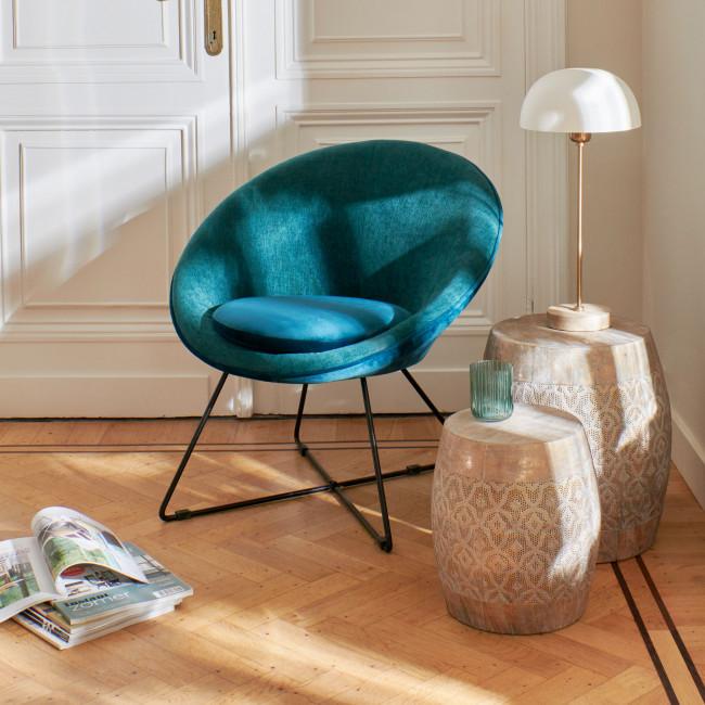 Garbo - Fauteuil en velours - Vert