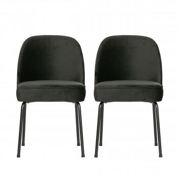 Lot de 2 chaises design en velours Vogue - Noir
