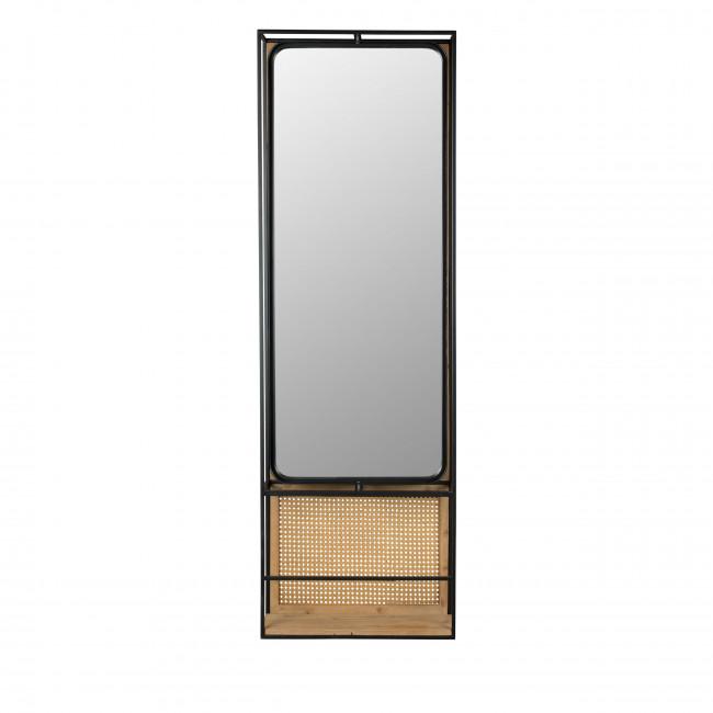 Langres - Miroir en métal et cannage