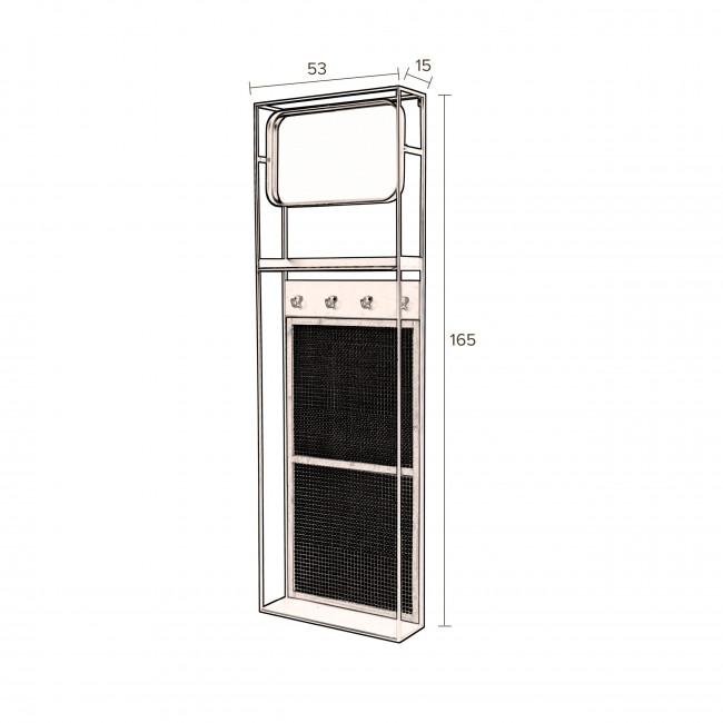 Langres - Vestiaire d'entrée avec miroir en métal et cannage