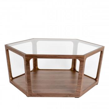 Sita - Table basse hexagonale en bois et verre