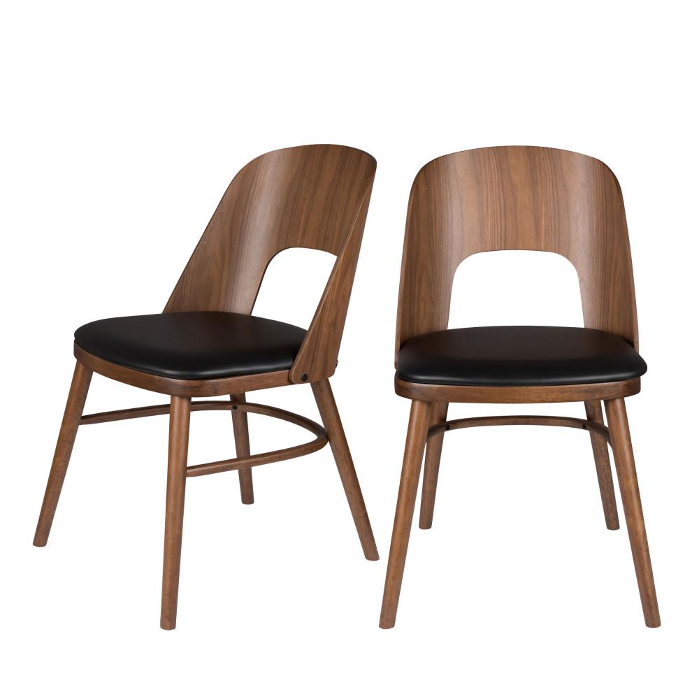 2 chaises en bois et simili Dutchbone TALIKA