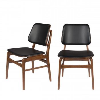 Vernon - 2 chaises en bois et simili