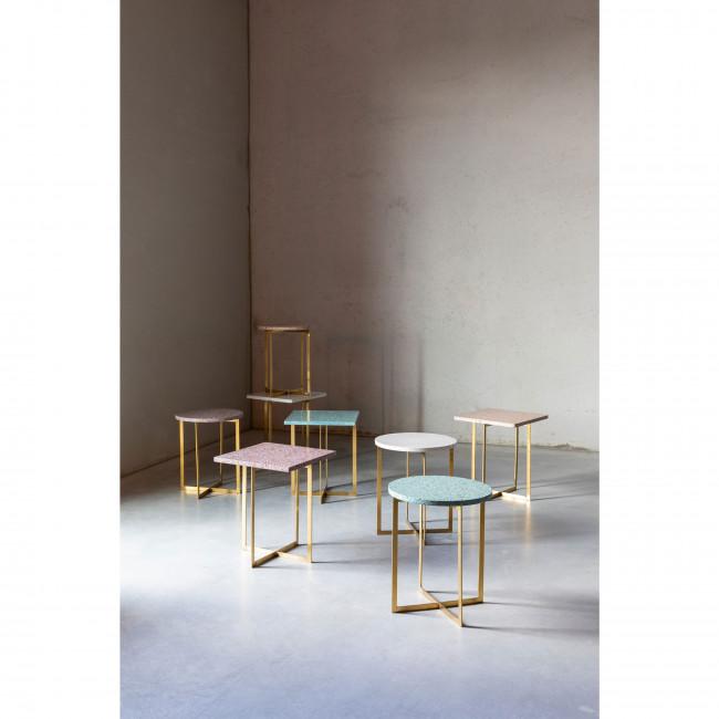 Luigi - Table d'appoint ronde en métal et terrazzo ø40cm