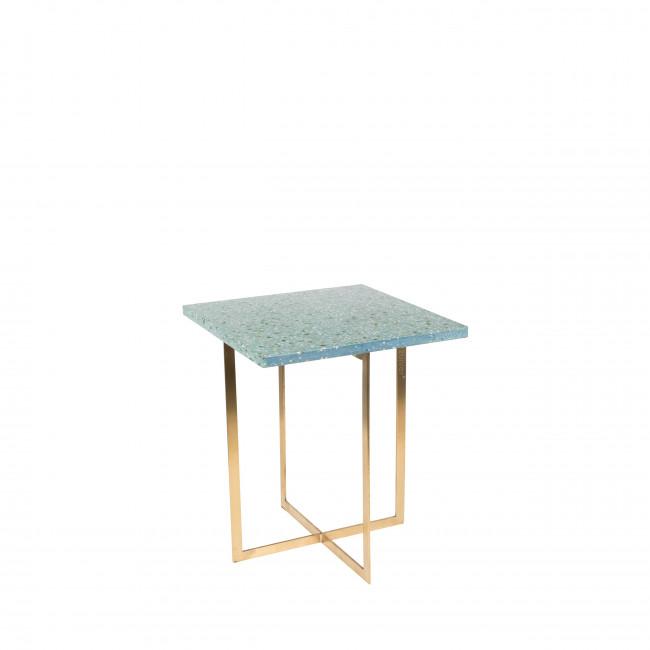 Luigi - Table d'appoint carrée en métal et terrazzo