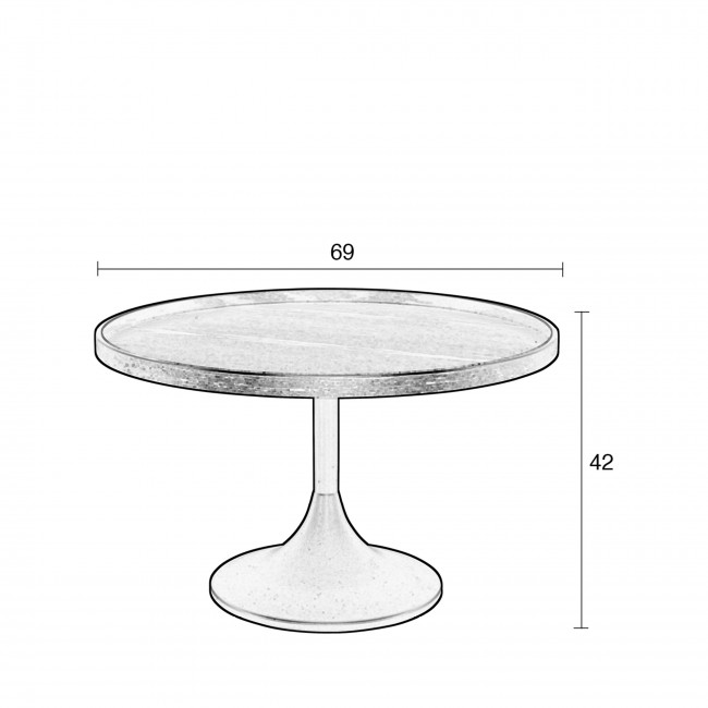 Jason - Table basse ronde en métal et bois