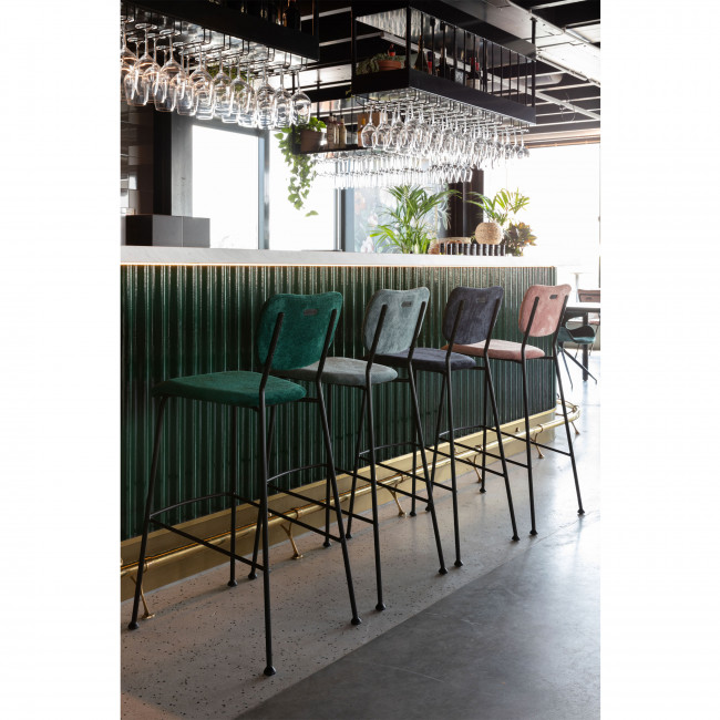 Benson - 2 tabourets de bar en velours côtelé 75cm