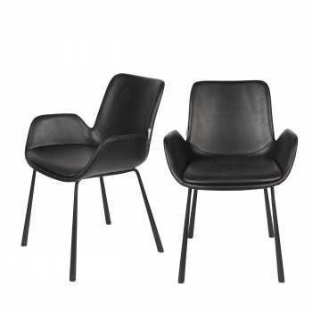 Brit LL - 2 fauteuils de table en simili