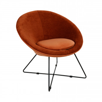 Garbo - Fauteuil en velours - Orange