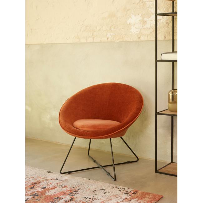 Garbo - Fauteuil en velours - Orange