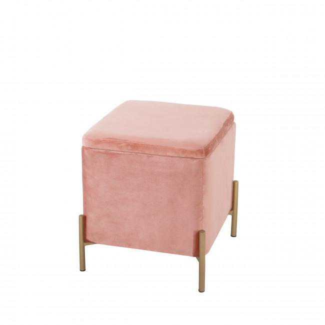 Snog - Tabouret en métal et velours - Rose pastel