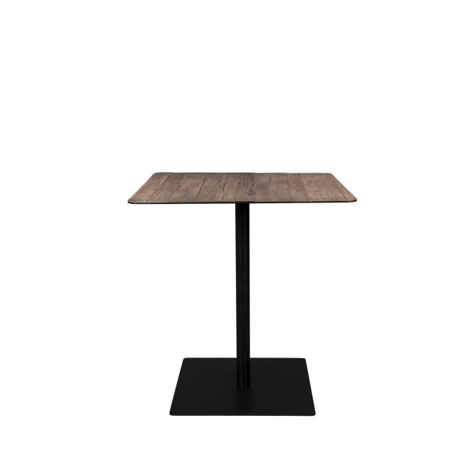 Braza - Table de bistrot carrée en métal et bois 75x75cm