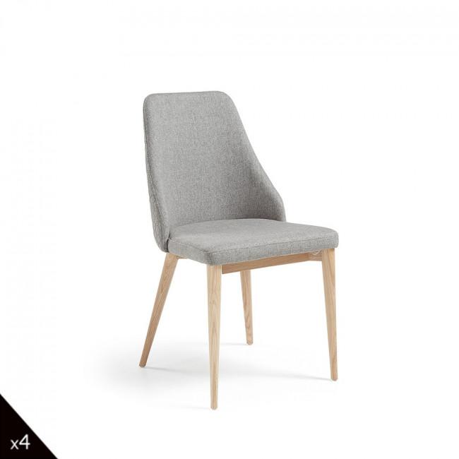 Lot de 2 chaises en tissu rembourré Flora - Gris clair