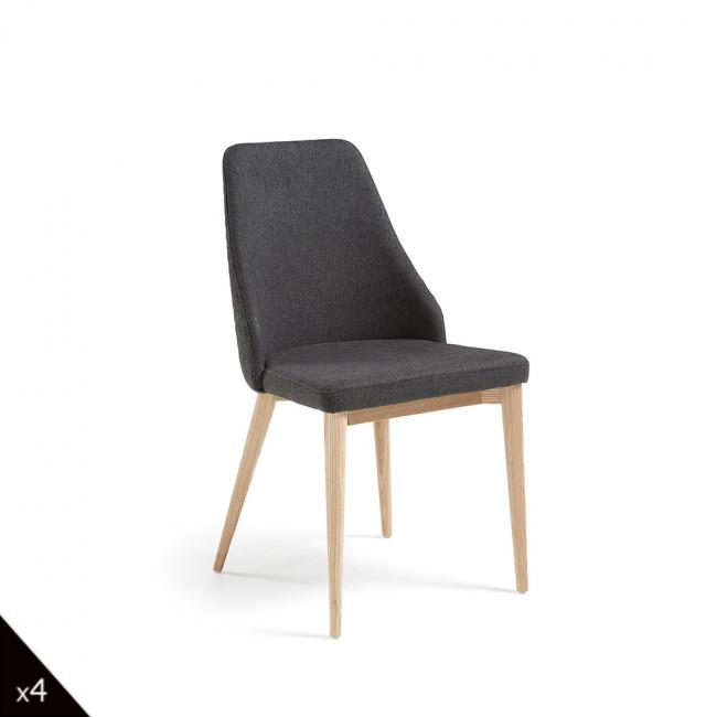 Lot de 2 chaises en tissu rembourré Flora - Gris anthracite