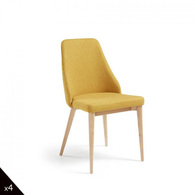 Lot de 2 chaises en tissu rembourré Flora - Jaune