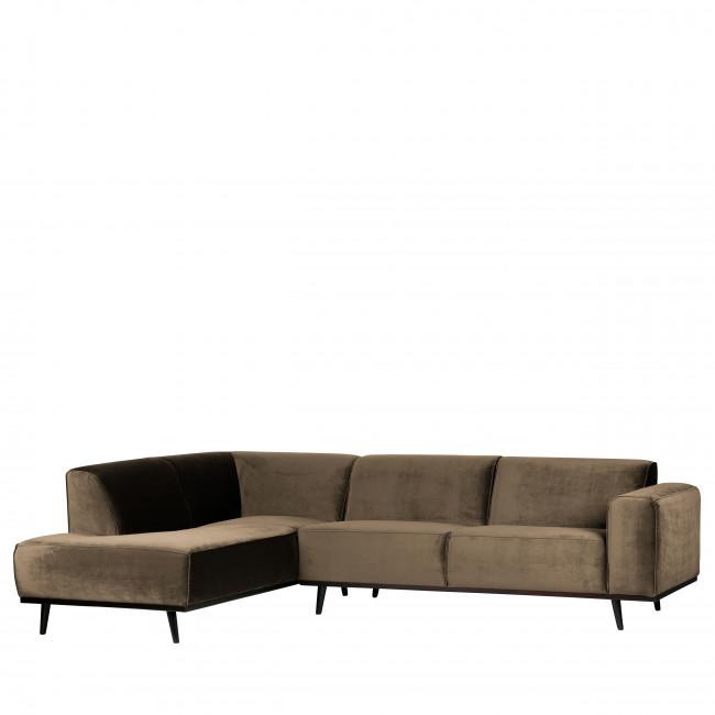 Canapé d'angle gauche velours Statement - Gris