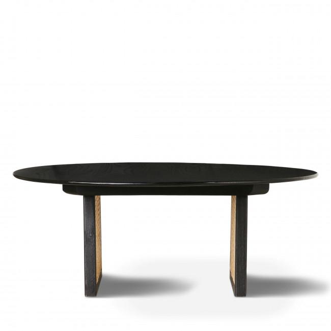 Vledder - Table basse ronde en bois et cannage ø65cm