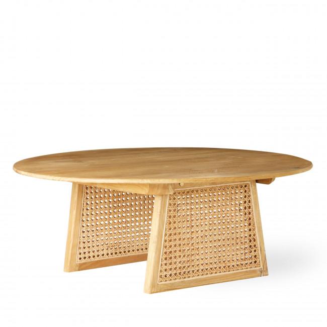 Vledder - Table basse ronde en bois et cannage ø80cm
