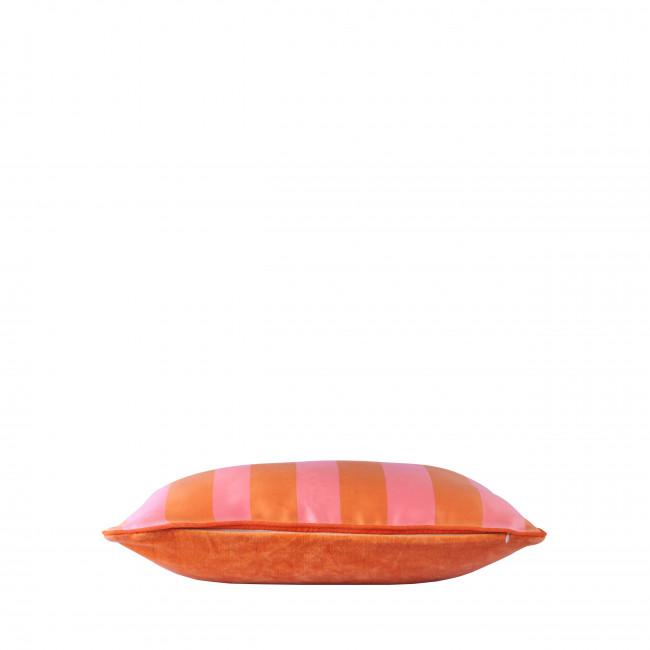 Villie - Coussin 2 faces rayé en velours et satin 35x50cm