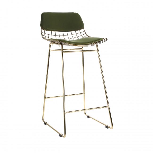 Aslaug - Kit confort en velours pour tabouret de bar en métal quadrillé
