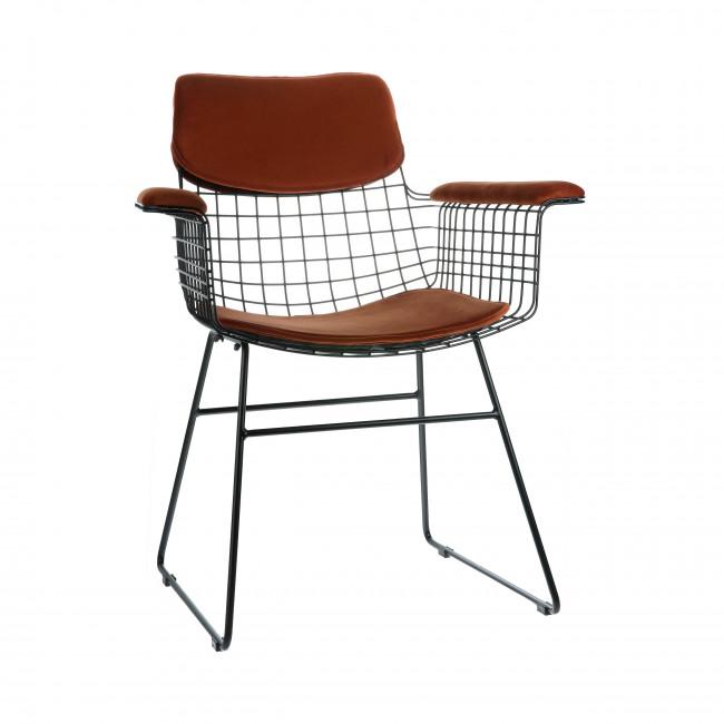Aslaug - Kit confort en velours pour fauteuil de table en métal quadrillé