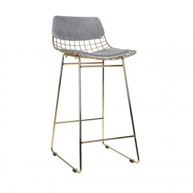 Aslaug - Kit confort en tissu pour tabouret de bar en métal quadrillé