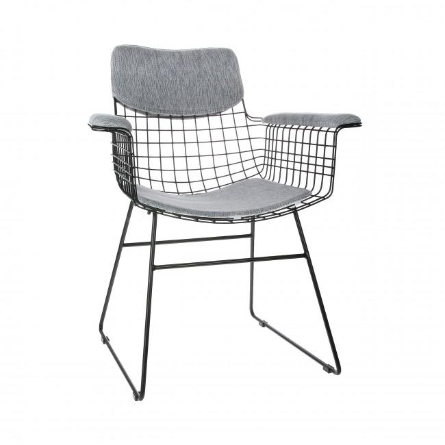 Aslaug - Kit confort en tissu pour fauteuil de table en métal quadrillé