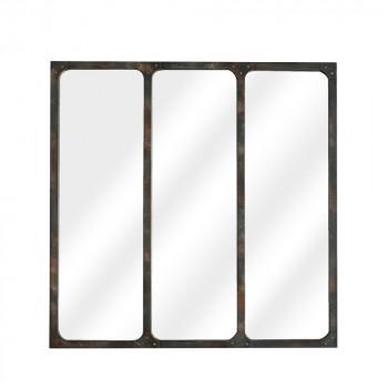 Miroir verrière métal 70x70 Lea - Rouille