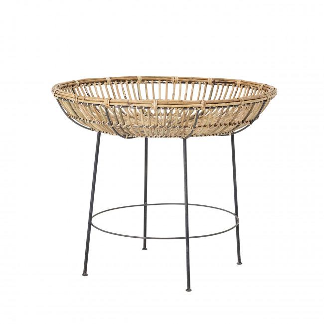 Vanessa - Table d'appoint en métal et rotin