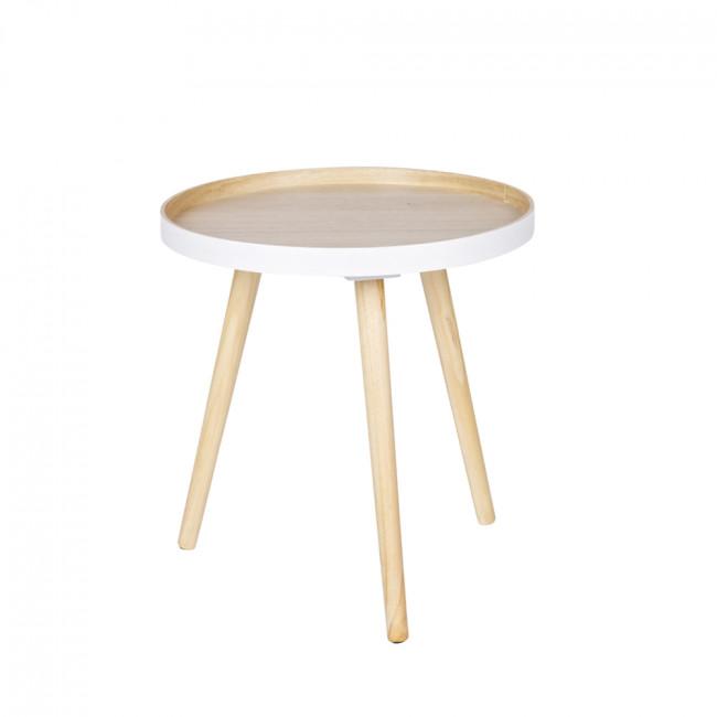 Table basse ronde trépied False - Blanc/Bois
