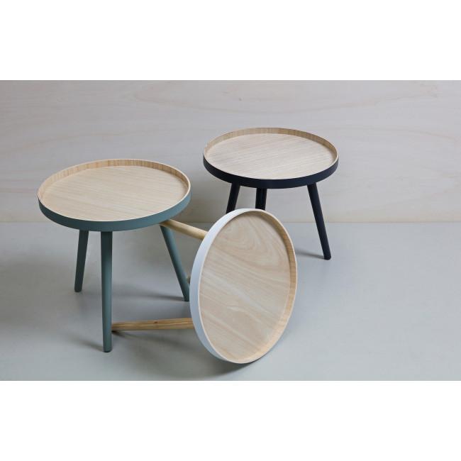 Table basse ronde trépied False - Vert/Bois