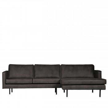 Canapé d'angle droit vintage Bronco - noir