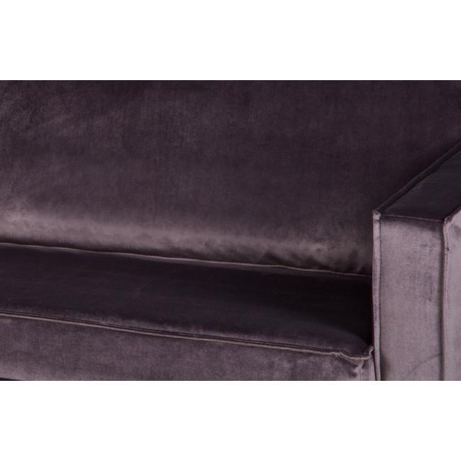 Méridienne droite en velours Bronco -GRIS FONCE